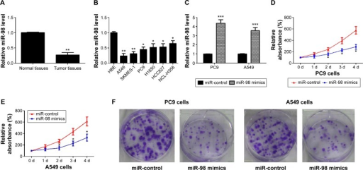 miR-98 is low expressed in lung cancer, and restoration of miR-98 inhibits cell proliferation.Notes: (A) miR-98 is downregulated in lung cancer tissues. **P<0.01 vs normal tissues. (B) miR-98 is downregulated in lung cancer cells. *P<0.05. **P<0.01 vs normal HBE cells. (C) Relative miR-98 level is elevated in PC9 and A549 cells transfected with miR-98 mimics. ***P<0.001 vs controls. (D and E) miR-98 inhibits absorbance of PC9 and A549 cells, respectively. *P<0.05 vs controls. (F) miR-98 suppresses the colony formation abilities of PC9 and A549 cells.Abbreviations: HBE, human bronchial epithelial; d, days.