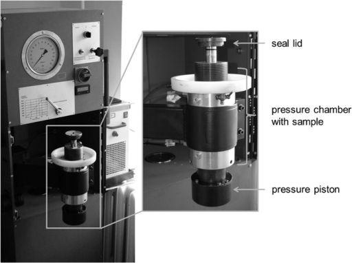 High hydrostatic pressure device HDR-100 for devitalisation of cartilage tissue.Samples were placed in the hermetically sealed pressure chamber and treated for 10 min at 480 MPa.