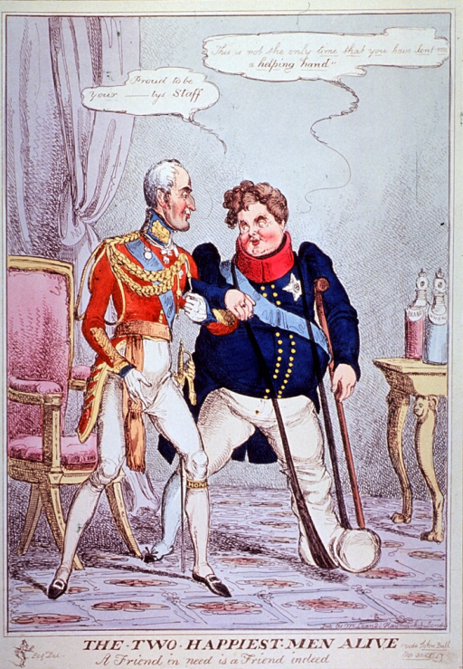 <p>Two men in uniform are standing arm in arm; the man on the right has a gouty leg supported by a sling that extends around his neck, he leans on a crutch.</p>