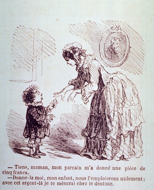 <p>A mother will take her little boy to the dentist with the money that he was given.  Visual motif:  A little boy handing money to his mother.</p>