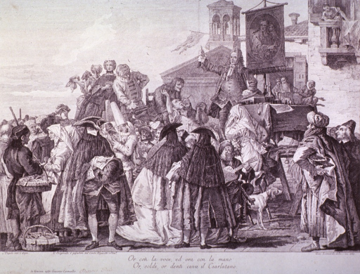 <p>A street scene.  An orator is standing on a table.  People are lined up behind another man who is sitting with two dental instruments, one in his hand and the other in his mouth.  His patient is raising his right arm while resting his head in the dentist's lap.  The rest of the town is going about business as usual.</p>