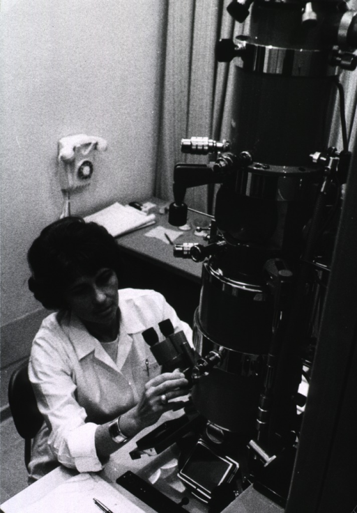<p>A woman is making adjustments on an electron microscope.</p>