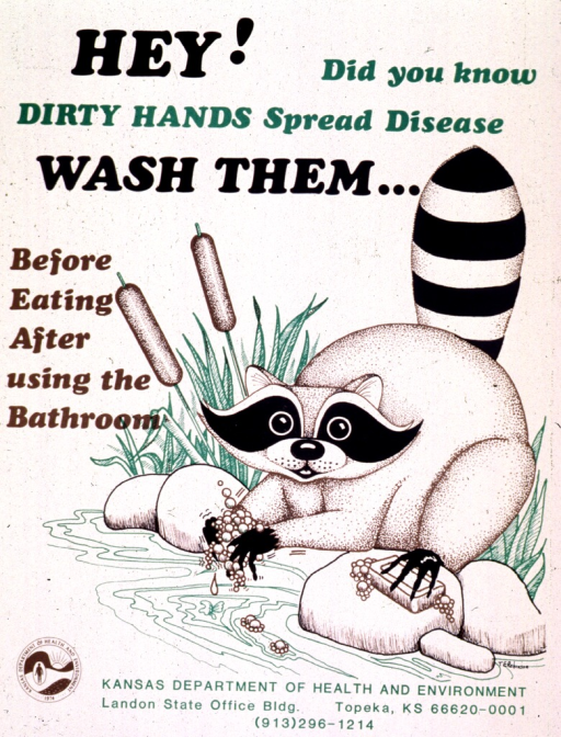 <p>White poster with multicolor lettering.  Title at top of poster.  Visual image on right side of poster.  Image is an illustration of a raccoon sitting on rocks by water, surrounded by grass and cattails.  The raccoon washes his front paws and holds a bar of soap in a rear paw.  Publisher information and logo at bottom of poster.</p>