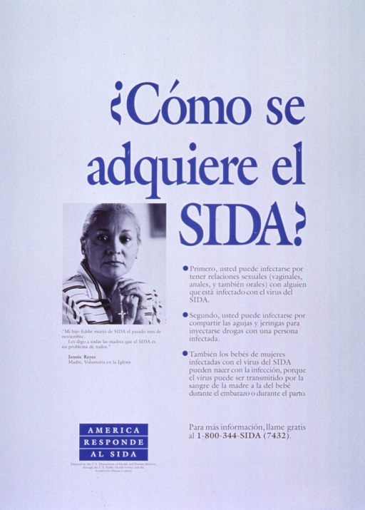 <p>White poster with blue and black lettering.  Title on right side of poster.  Text below title explains AIDS transmission through sexual contact, sharing needles, and mother to child.  Visual image is a reproduction of a b&amp;w photo of a woman with her hands clasped around a rosary.  Text below photo is a quote from the woman, whose son died of AIDS, calling for mothers to realize that AIDS is a problem for everyone.  Note and publisher information in lower left corner.</p>