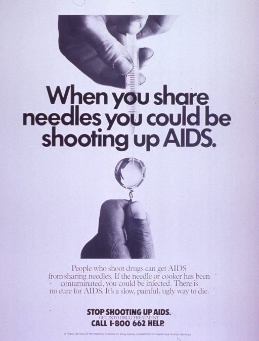 <p>Predominantly white poster with black lettering.  Visual image is a b&amp;w photo reproduction showing only the hands of someone who is filling a syringe from a bottle cap.  Title superimposed on photo.  Caption below photo.  Note and publisher information below caption.</p>