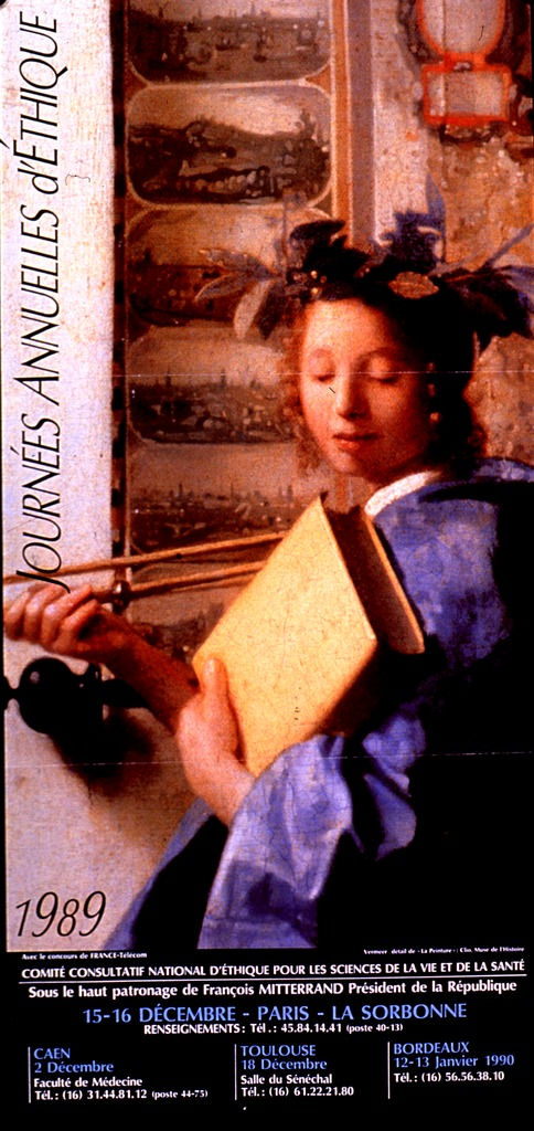 <p>Multicolor poster.  Title on left side of poster.  Visual image is a reproduction of a detail from Vermeer's work &quot;The allegory of painting&quot; that features a young woman holding a book.  The woman is intended to be Clio, the muse of history.  Publisher and sponsor information below image, along with dates for sessions of the Journees in various cities around France.</p>