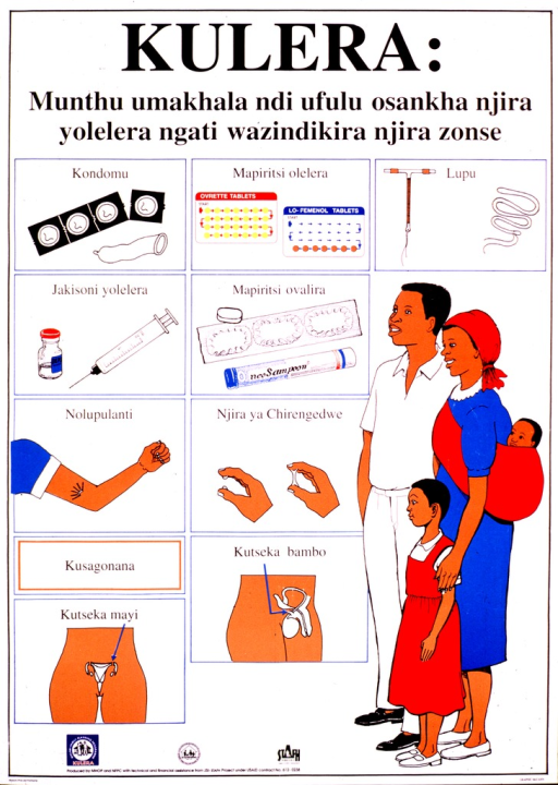 <p>White poster with black lettering.  Title at top of poster.  Dominant visual image below title is a color illustration of a four-member family.  Eight smaller illustrations depict contraceptive methods including condom, pill, IUD, injection, vaginal foams, implants, and sterilization.  Publisher and sponsor information at bottom of poster.</p>