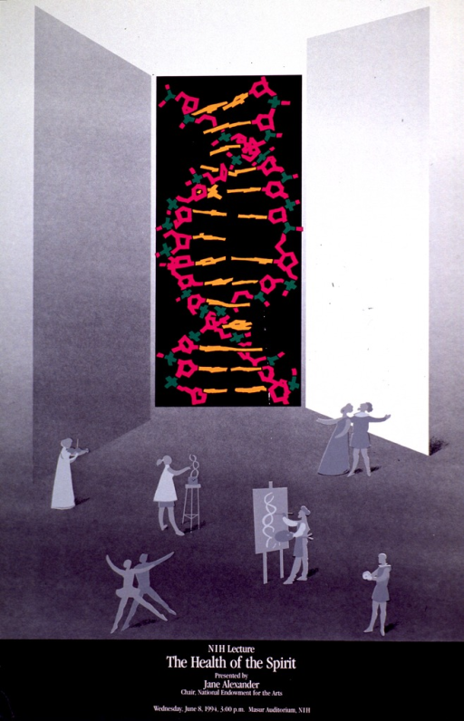<p>Poster in shades of gray and black with a central portion showing the double helix in purple, green, and orange against a black background. The bottom portion of the poster shows silhouettes of people in the process of singing, dancing, playing musical instruments, painting, and sculpting.</p>