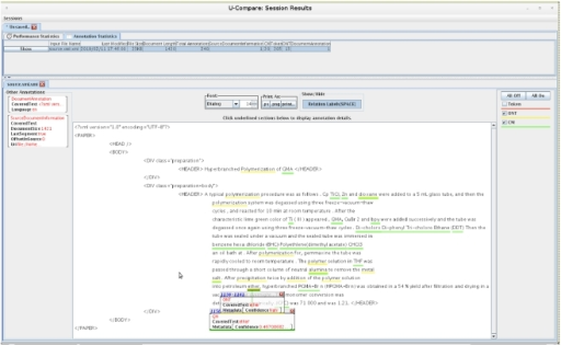U-Compare output for a test document.Chemical names (underlined) as identified by the MEMM-based workflow.