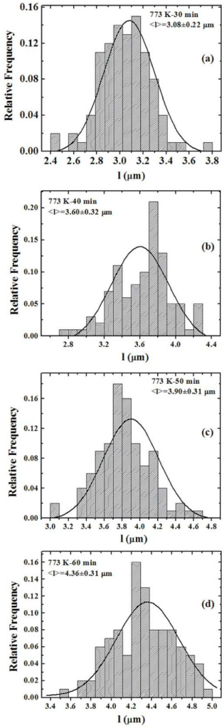 Distributions of the radius l of the depletion zones for samples annealed at 773 K for: (a) 30 min, (b) 40 min, (c) 50 min, and (d) 60 min. The continuous lines are the Gaussian fits.