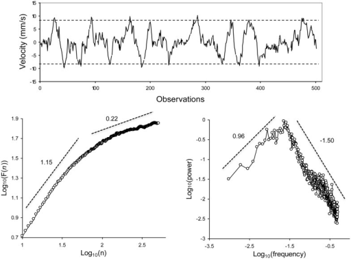 Top: an example series of center-of-pressure velocity, during the maintenance of upright posture (sampling frequency: 40 Hz). The dashed lines represent the upper and lower limits that bound the evolution of the series. Bottom: average DFA diffusion plot (left) and average log–log power spectrum (right). From Delignières et al. (2011a).