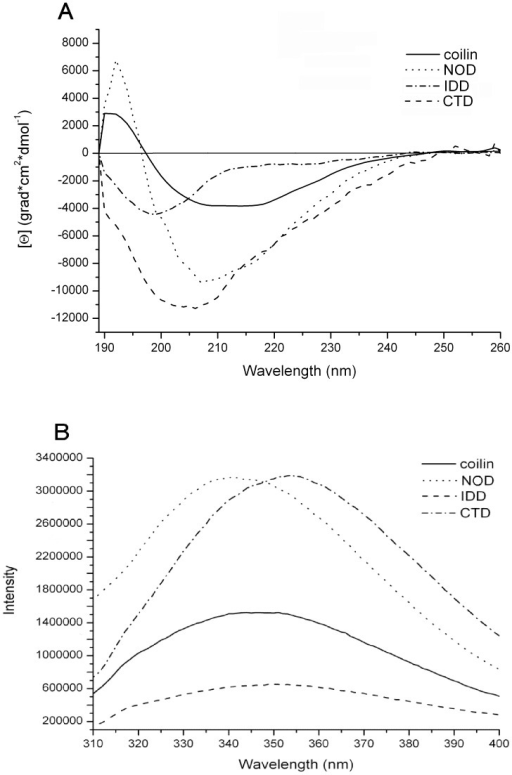 Structural characteristics of the predicted domains of Atcoilin.(A) Circular dichroism far UV-light spectra of the wt Atcoilin and its isolated domains. (B) Tryptophan fluorescence spectra of the wt Atcoilin and its isolated domains. Fluorescence intensity is given in relative units.