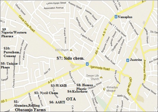 Map of Ota town showing sampling points S1 – S10 | Open-i Street Map San Go on