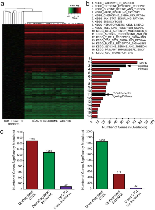 Clinical relevance of drug-induced genomic changes are supported by SS patient microarray dataA gene expression signature for CTCL patients was derived using publically available data sets from SS patients and healthy donor CD4+ cells. (a) Hierarchical clustering of patient and healthy donors (b) SS patient sample gene expression signature shares pathways with Hut78 drug treatment microarray signature. Black bars highlight TCR and MAPK signaling pathways. (c) Number of genes with expression negatively correlated between SS patients and drug treated SS cells.
