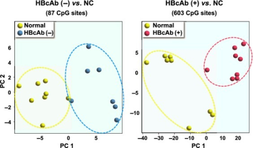 Principal component (PC) analysis for differential DNA methylation status. Normal control (NC), hepatitis B core antibody (HbcAb) (−), and HBcAb (+) liver tissue samples are indicated in yellow, blue, and red, respectively.