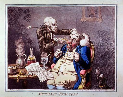 <p>A man seated is being treated by a man who is applying an instrument to the patient's nose; the effect has knocked the patient's wig off and produced flames from his nostrils; on a table are a pipe, decanter, steaming pitcher, etc. A dog howls nearby.</p>