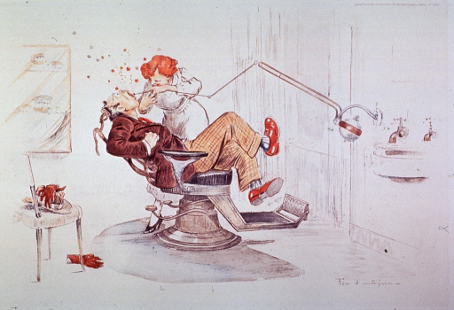 <p>Interior view of a dental office; a woman dentist is drilling a man's tooth.</p>