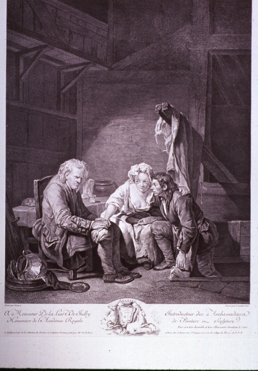 <p>A daughter entertains a male visitor while her blind father sits unaware.</p>