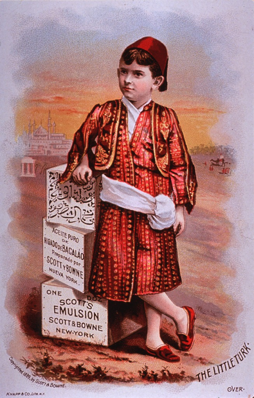 <p>Visual motif:  Showing a young boy dressed in Turkish costume; standing next to three cases of Scott's Emulsion.</p>