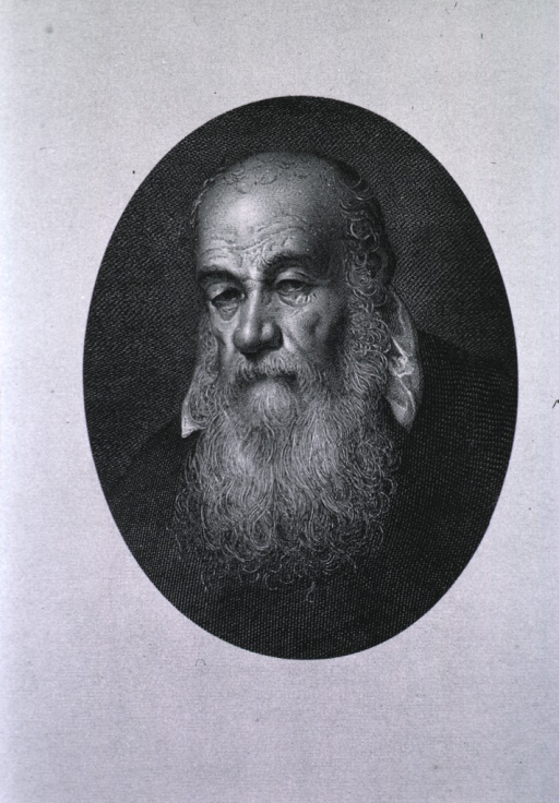 <p>Head and shoulders, full face; as an old man, with long beard; in oval.</p>