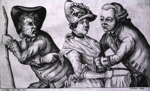 <p>A woman shows no objection to the romantic embrace of a handsome young officer whose hands appear to be buried in her dress; another man present, apparently her brother, is visibly concerned and reaches for her shawl, urging her away from the officer.</p>