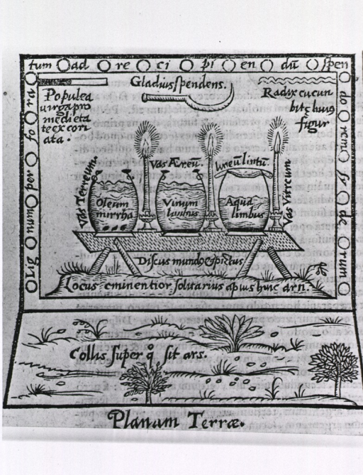 <p>Three large pots are sitting on a crude table; each has a candle next to it and is labelled by contents; several plants are illustrated below the table, and a sickle is shown above the pots.</p>