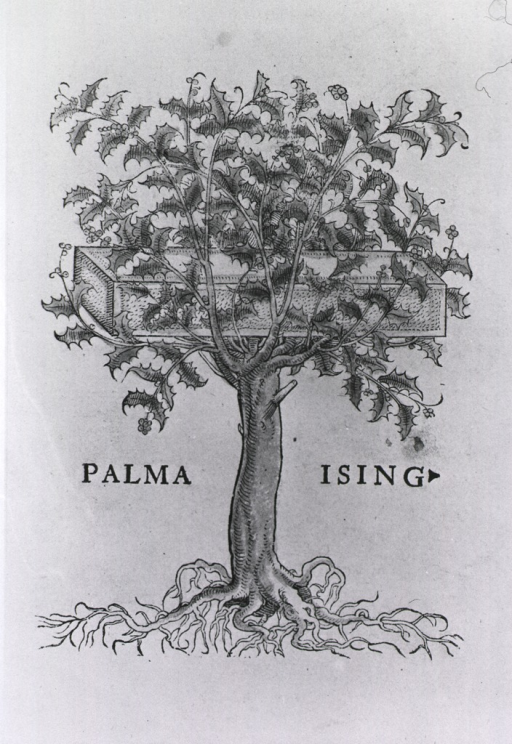 <p>Printer's mark at end of work, a holly tree with a platten among the branches (the platten part of a press).</p>
