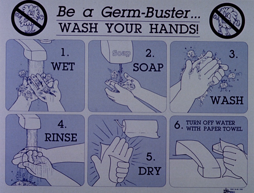 <p>White poster with blue lettering.  Title at top of poster.  Cartoon-character germs stand on both sides of the title, crossed out by &quot;do not&quot; symbols.  Dominant visual image is a six-panel illustration demonstrating proper handwashing techniques.  Many of the cartoon germs are on the hands in the first two panels (wet, soap).  They fly off the hands in panel 3 (wash) and fall to the drain in panel 4 (rinse).  Hands are clean in final two panels (dry, turn off water with paper towel).  Publisher logo in lower right corner.</p>