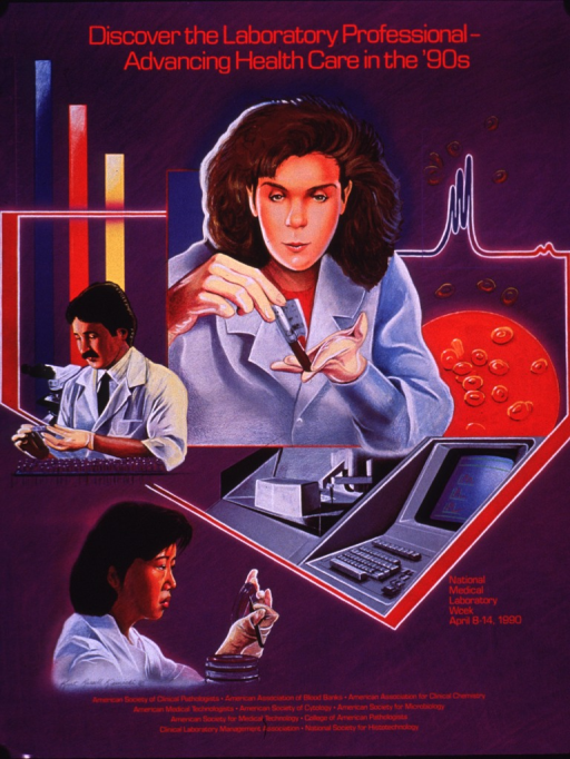 <p>Predominantly purple poster with red lettering.  Title at top of poster.  Visual images are illustrations of laboratory personnel performing experiments and laboratory equipment.  Note text near lower right corner.  Publisher and sponsor information at bottom of poster.</p>