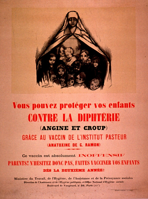<p>Predominantly discolored white poster with red and black lettering.  Visual image at top of poster is an illustration of a nurse who is sheltering many children in the folds of her cape.  Title and additional text describing the vaccine below illustration.  Publisher information at bottom of poster.</p>