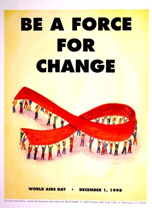 <p>Predominantly yellow poster with blue and black lettering.  Title at top of poster.  Visual image is an illustration of a red AIDS awareness ribbon being held aloft by people.  Note below illustration.  Publisher information at bottom of poster.</p>