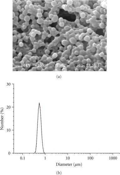 SEM image and particle size distribution of LG-10 NPs.