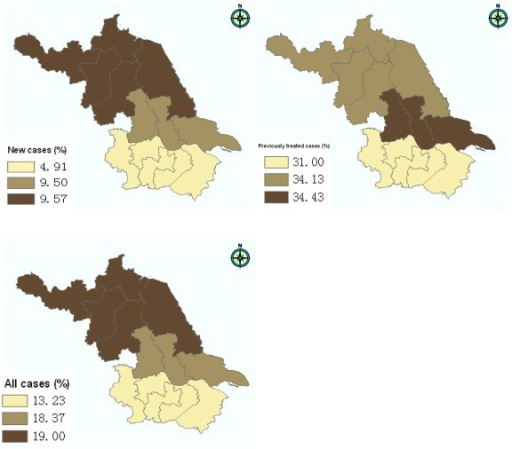 Geographical variation of MDR-TB in Jiangsu province. The study sites were categorized as three groups (north, central and south) based on their locations. MDR: resistant to at least isoniazid and rifampicin.