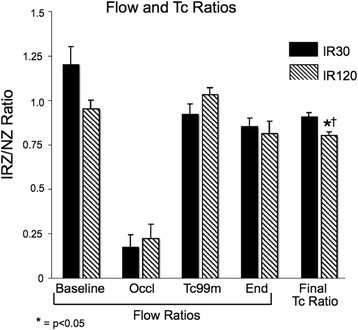 Myocardial blood flow and Tc-99m ratios. Myocardial blood flow ratios (IRZ/NZ) were determined by microspheres for both study groups at four time points. Gamma well counter-determined myocardial tissue Tc-99m ratios (IRZ/NZ) at the end of 1 h of clearance are also shown. *p < 0.05 as compared to IR30 final Tc ratio; †p < 0.05 as compared to IR120 Tc-99m flow ratio. End, 1 h after tracer administration; IR30, ischemia-reperfusion, 30-min occlusion group; IR120, ischemia reperfusion, 120-min occlusion group; IRZ, ischemia-reperfusion zone; NZ, normal zone; Occl, time of LCx occlusion; Tc-99m, time of Tc-99m-teboroxime administration.