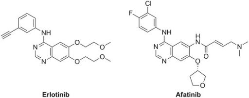 Chemical structures of erlotinib and afatinib.