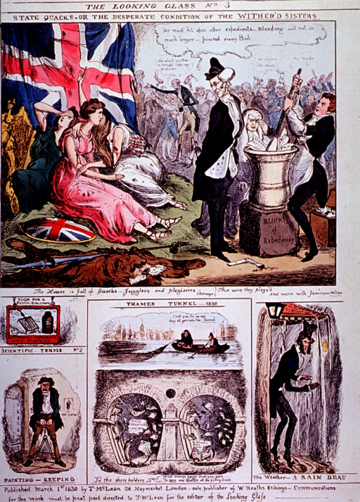 <p>Three distraught women are sitting on a pile of straw; a group of physicians are preparing a concoction with a mortar and pestal; a dead lion is in the foreground and a large group of quack physicians is in the background. On same page are several vignettes under the heading Scientific Terms No.2.</p>
