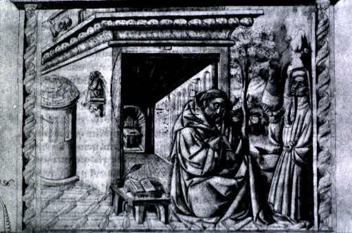 <p>As tonsured monk, sitting before opening to long passage-way; to the left is a low writing table with an open manuscript and a quill pen.  Another monk is standing to the right holding a large vase.</p>