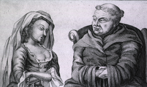 <p>A young woman, wearing a low cut dress, confesses her sins before a tonsured priest, but the illustration and accompanying text (&quot;...but mark his leering eyes&quot;) question the priest's fidelities.</p>
