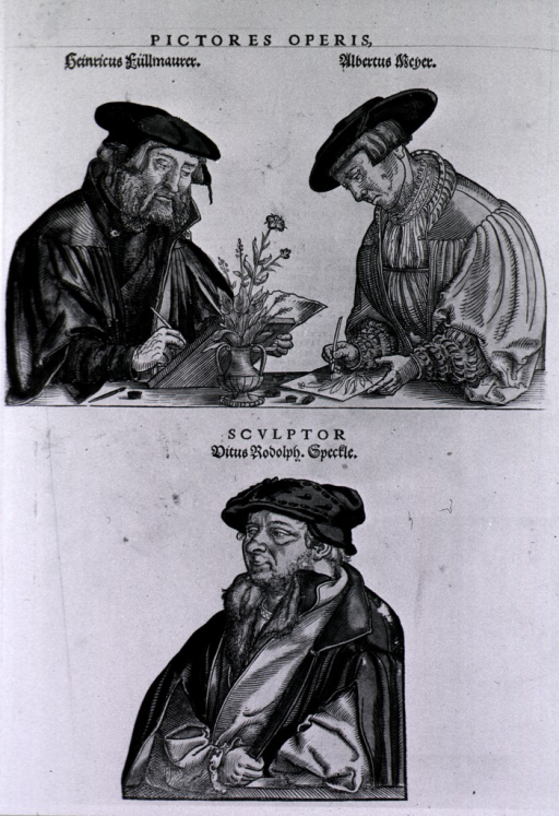 <p>Portraits of the two artists of the book at work drawing plants; engraver pictured below.</p>