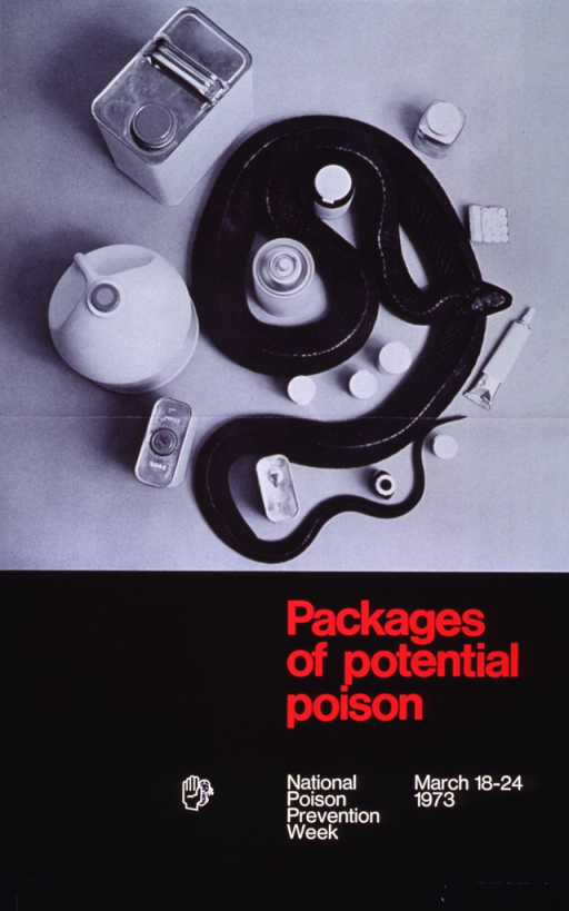 <p>Black poster with red and white lettering.  Visual image dominates upper portion of poster.  Image is a reproduction of a b&amp;w photo showing a bird's-eye-view of medicine and chemical bottles with a long black snake coiled among the containers.  Title below image, note below title.</p>