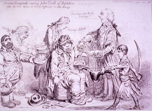 <p>John Bull, sitting in a weakened state on a commode, is being bled by a physician holding his arm and applying the knife; Bull is supported from behind by a man; two other men stand at left offering bowls of warm water; Napoleon collects blood at right.</p>