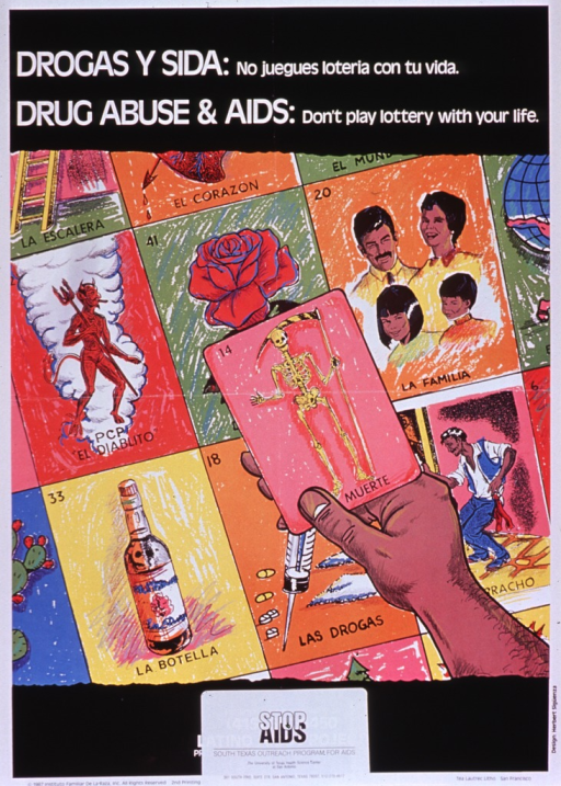<p>Multicolor poster with black and white lettering.  Title in Spanish and English at top of poster.  Visual image is a series of cards, similar to tarot cards.  Some of the cards have positive images (e.g., a rose, a family) and others show images related to drug abuse (e.g., a bottle, a card with a devil representing PCP).  In the foreground, a hand holds up a card with a skeleton that reads &quot;muerte&quot; or death.  Publisher information at bottom of poster on a sticker that covers original publication information.</p>