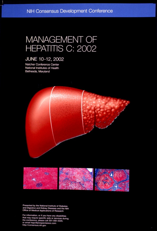 <p>Black poster with a red/orange figure representing the liver. Below the &quot;liver&quot; are three rectangles showing magnified examples of cells under the microscope.  Title and event information appear above and below the visual.</p>