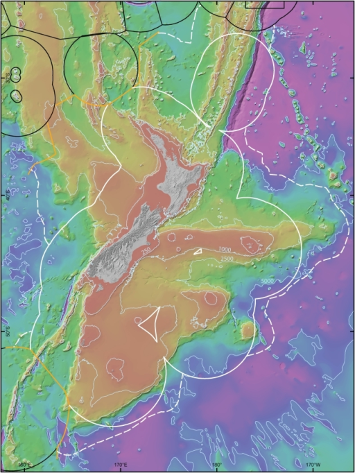 The New Zealand region continental mass (Zealandia), seafloor, and Exclusive Economic Zone.Bathymetric contours indicate 250, 1,000, 2,500, and 5000 m. The solid white line shows the boundary of the New Zealand EEZ, the solid black line the EEZs of Australia and island states to the north; the dashed white line indicates the extension to New Zealand's legal continental shelf, and the orange line the agreed Australia/New Zealand boundary under UNCLOS.