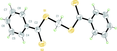 Molecular structure of the title compound showing displacement ellipsoids at the 50% probability level for non-H atoms. Non-labelled atoms are related to labelled atoms by the symmetry code 1-x, 2-y, z.