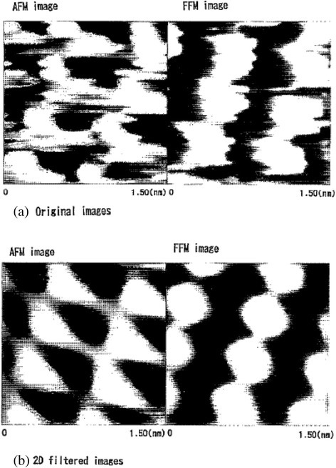Original images (a) and filtered images (b) of AFM and FFM images of muscovite.