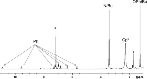 1H NMR spectrum of complex 6 in C6D6 at 298 K: (*) C6D5H; (+) trace impurity. Thehigh- and low-field chemical shift positions of the aryl protons areindicated.