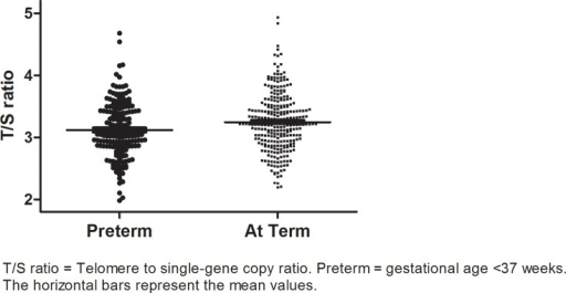 Distributions of mean telomere lengths in subjects born preterm and at term.T/S ratio = Telomere to single-gene copy ratio; Preterm = gestational age < 37 wks; The horizontal bars represent the mean values.
