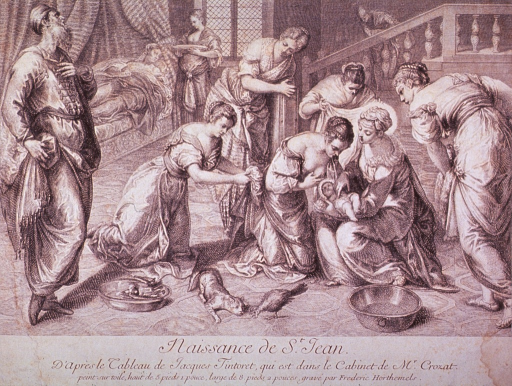 <p>Interior view of a bedroom; a woman has just given birth and is now resting in bed; in the foreground a group of women (midwives?) are gathered around as a wet nurse attempts to feed the infant; a cat stalks a chicken, and a man stands to the left.</p>