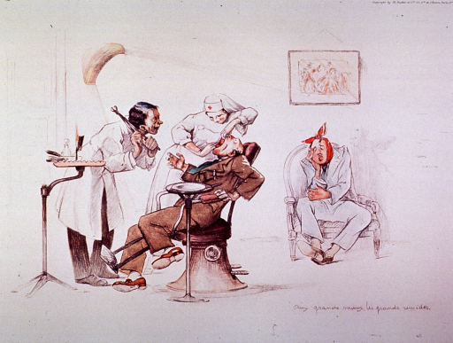 <p>Interior view of a dental office; a dental assistant is attempting to open a patient's mouth as wide as possible; the dentist is standing before the patient, holding pincers over his shoulder; another patient is sitting to the right, awaiting his turn.</p>